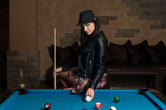 Portrait Of A Young Woman Concentration On Ball Royalty Free Stock Photography