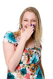 Portrait of young woman covering her mouth with hand Royalty Free Stock Images