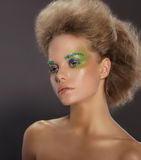 Portrait of Young Woman with Creative Makeup. Cute Young Woman with Creative Makeup Royalty Free Stock Image
