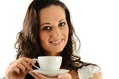 Portrait of young woman with cup of coffee Stock Images