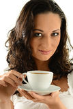 Portrait of young woman with cup of coffee Stock Image