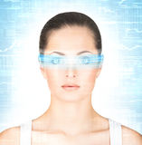 Portrait of a young woman with digital glasses Royalty Free Stock Photos