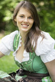 Portrait of young woman in dirndl Royalty Free Stock Photo