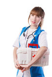 Portrait of young woman doctor. With white coat standing  in hospital Royalty Free Stock Photography