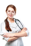 Portrait of young woman doctor. With white coat standing  in hospital Royalty Free Stock Photo