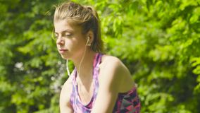 Portrait of young woman doing yoga exercises stock video footage
