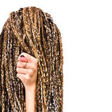Portrait of young woman dreadlocks gesturing with finger hand Royalty Free Stock Image