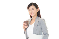Portrait of young woman drinking coffee. Royalty Free Stock Photos