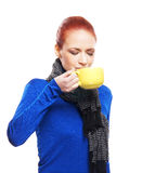 Portrait of a young woman drinking a cup of coffee Royalty Free Stock Photo