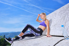 Portrait Of Young Woman Drinking Water After Jogging Royalty Free Stock Photos