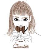 Portrait of young woman portrait eat chocolate stock photos