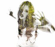 Portrait of a young woman with the effect of double exposure Stock Photography