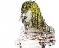 Portrait of a young woman with the effect of double exposure Stock Photos