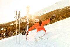 portrait of a young woman enjoying the mountains. Happy skier relaxing royalty free stock photos