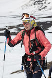 Portrait of young woman equipped ski mountaineer Stock Photography