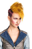 Portrait of young woman with extravagant hairstyle Stock Photo