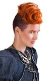 Portrait of young woman with extravagant hairstyle Stock Photos