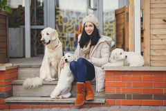 Portrait of the young woman with favourite dogs. The beautiful girl, the brunette with a long straight hair and gray eyes, in a white jacket and a beige knitted stock photos
