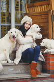 Portrait of the young woman with favourite dogs Royalty Free Stock Photography