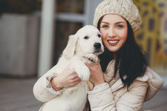 Portrait of the young woman with favourite dogs Stock Photography