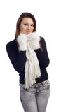 Portrait of young woman feeling cold Stock Photo