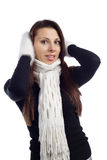 Portrait of young woman feeling cold Stock Photography