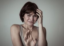 Portrait of a young attractive woman looking scared and shocked.Human expressions and emotions. Portrait of young woman feeling scared and shocked making fear stock images