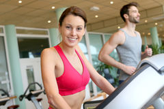 Portrait of a young woman in the fitness club Royalty Free Stock Images