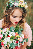 Portrait Of Young Woman With Flower Wreath Royalty Free Stock Photos
