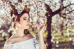 Portrait of young woman in the flowered garden in the spring tim Royalty Free Stock Photo