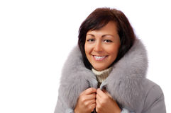 Portrait of young woman in fluffy hood Royalty Free Stock Images