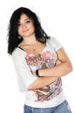 Portrait of young woman with folded arms posing Royalty Free Stock Photography