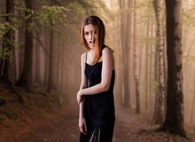 Portrait of Young Woman in Forest Royalty Free Stock Photography
