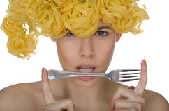 Portrait young woman with a fork Royalty Free Stock Image