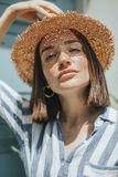 Portrait of a young woman with freckles royalty free stock image