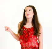 Portrait Young Woman full body snapping fingers Stock Photography