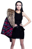 Portrait of a young woman in furs. And jewels Royalty Free Stock Photo