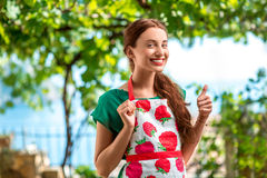 Portrait of a young woman gardener Royalty Free Stock Photos