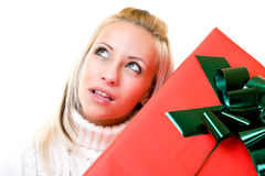 Portrait of a young woman with gift Stock Image