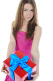 Portrait of a young woman with a gift Royalty Free Stock Photo