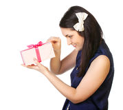 Portrait of a young woman with gifts. Royalty Free Stock Photo