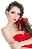 Portrait of young woman with glamour red lips Royalty Free Stock Photography