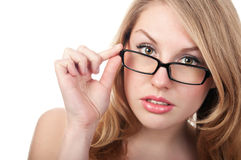 Portrait young woman with glasses Stock Images