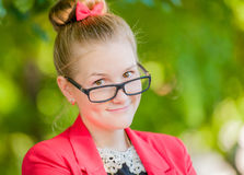 Portrait of a young woman in glasses Stock Photos