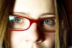 Portrait of the young woman in glasses Stock Photography