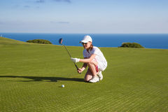 Portrait of young woman golfer Stock Photo