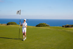 Portrait of young woman golfer Stock Images
