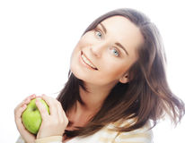 Portrait of young woman with green apple Stock Photography