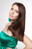 Portrait young woman in a green dress Royalty Free Stock Photos