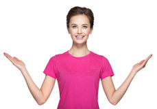 Portrait of young  woman with hands up Stock Photography